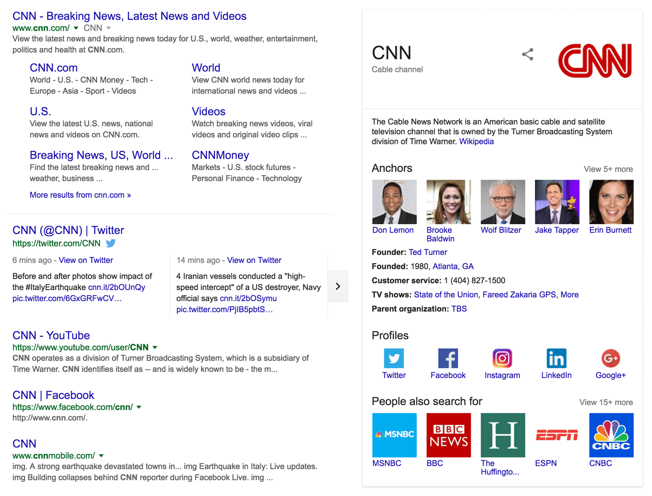 SERP Result Tracking for CNN - keyword rank checking the whole SERP
